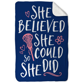 Girls Lacrosse Sherpa Fleece Blanket She Believed She Could So She Did