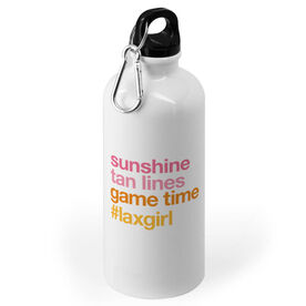 Girls Lacrosse 20 oz. Stainless Steel Water Bottle - Sunshine Tan Lines Game Time
