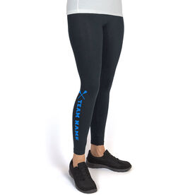 Lacrosse Leggings Team Name with Lacrosse Sticks
