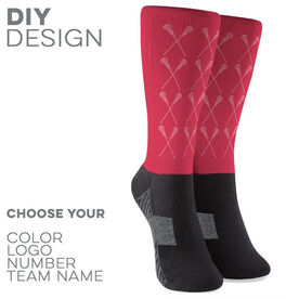 Girls Lacrosse Printed Mid-Calf Socks - Girls Lacrosse Sticks Pattern