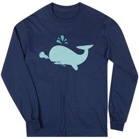 Girls Lacrosse Long Sleeve T-Shirt - Chevron Lax Whale