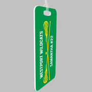 Girls Lacrosse Bag/Luggage Tag - Personalized Text with Crossed Sticks