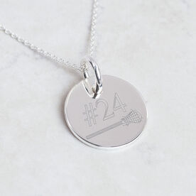 Personalized Sterling Silver Lacrosse Stick and Number Engraved 20mm Pendant Necklace