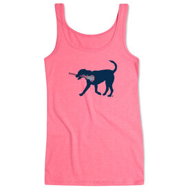 Girls Lacrosse Women's Athletic Tank Top LuLa the Lax Dog (Blue)