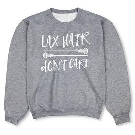 Girls Lacrosse Crew Neck Sweatshirt - Lax Hair Don't Care