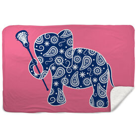 Girls Lacrosse Sherpa Fleece Blanket - Lax Elephant