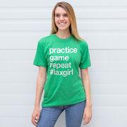 Girls Lacrosse Short Sleeve T-Shirt - Practice Game Repeat