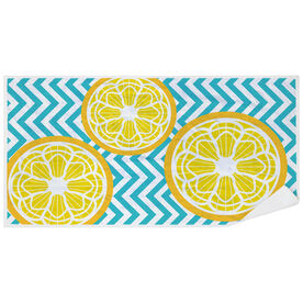 Girls Lacrosse Premium Beach Towel - Lax Citrus Chevron