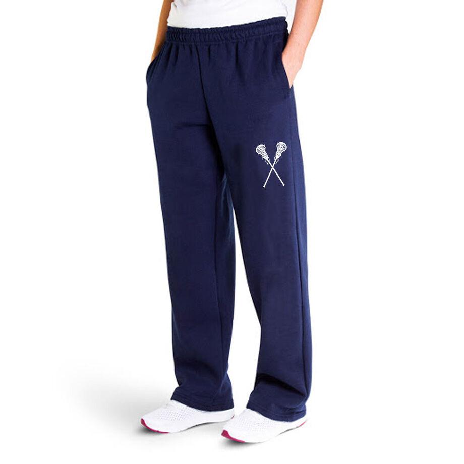 Girls Lacrosse Fleece Sweatpants - Crossed Sticks