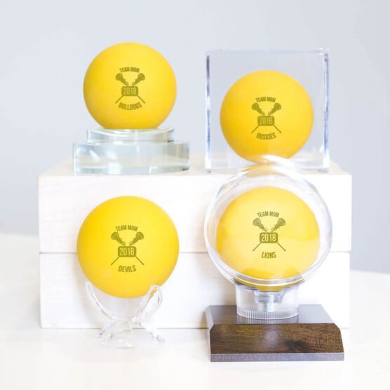 Lacrosse Team Mom Crossed Sticks Female Laser Engraved Lacrosse Ball (Yellow Ball)