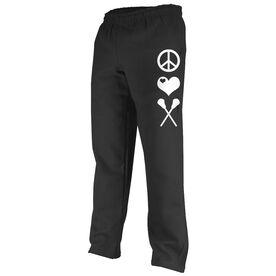 Girls Lacrosse Fleece Sweatpants - Peace Love Lacrosse