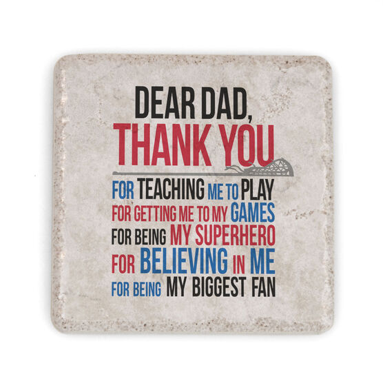 Girls Lacrosse Stone Coaster - Dear Dad (Autograph)