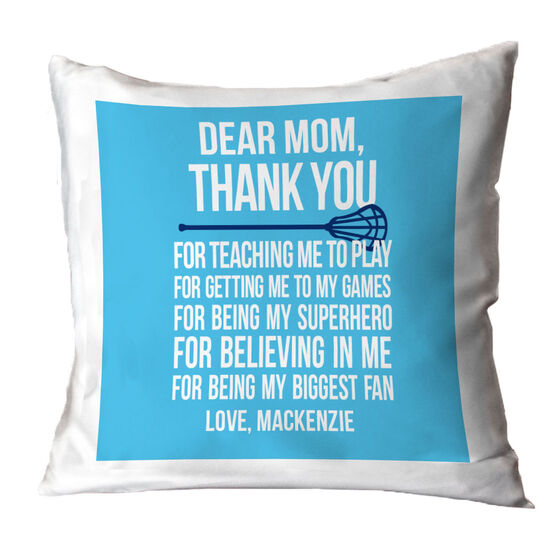 Lacrosse Throw Pillow Personalized Dear Mom Lacrosse