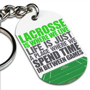 Lacrosse Printed Dog Tag Keychain Lacrosse Is Where We Live (Stacked)