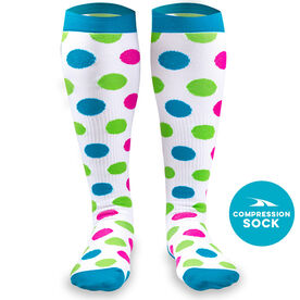 Polka Dot Compression Knee Socks