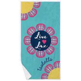 Girls Lacrosse Premium Beach Towel - Live Love Lax Flower
