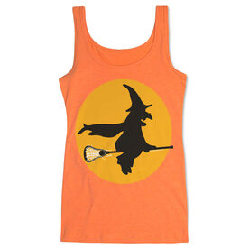 Girls Lacrosse Women's Athletic Tank Top Witch Riding Lacrosse Stick [Adult XX-Large/Neon Orange] - SS