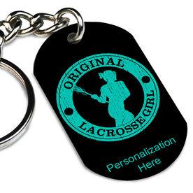 Lacrosse Printed Dog Tag Keychain Original Lacrosse Girl