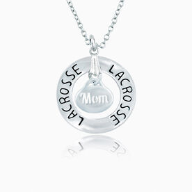Lacrosse Mom Message Ring Necklace
