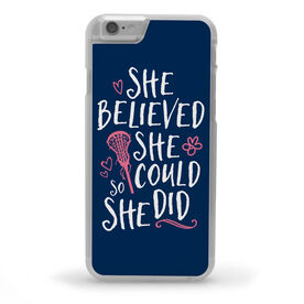Girls Lacrosse iPhone® Case - She Believed She Could So She Did [Navy/iPhone 6 or 6S] -SS