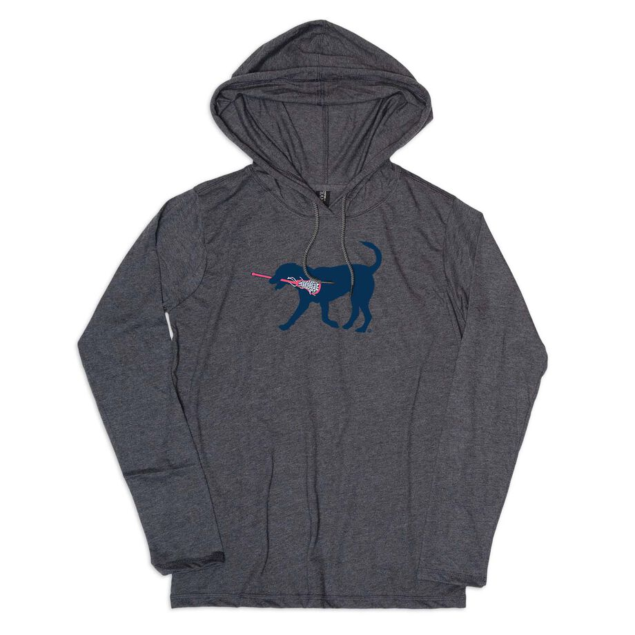 Girls Lacrosse Lightweight Hoodie - LuLa The Lax Dog Blue