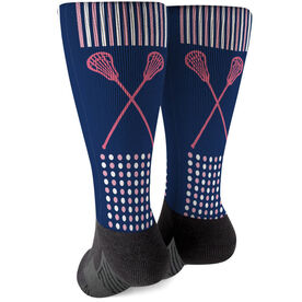 Girls Lacrosse Printed Mid-Calf Socks - Crossed Sticks with Pattern