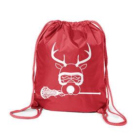 Girls Lacrosse Sport Pack Cinch Sack - Lax Girl Reindeer