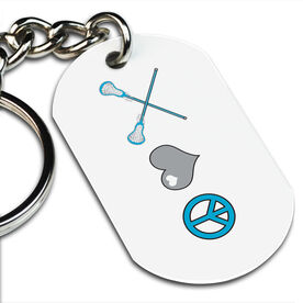 Lacrosse Printed Dog Tag Keychain Peace, Love, Lacrosse