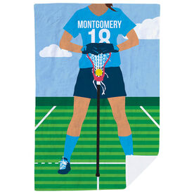 Girls Lacrosse Premium Blanket - Girls Lacrosse Player
