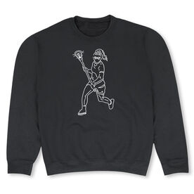 Girls Lacrosse Crew Neck Sweatshirt - Girls Lacrosse Player Sketch