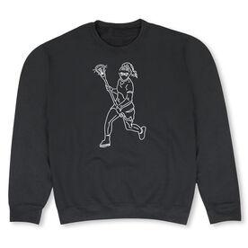 Girls Lacrosse Crew Neck Sweatshirt - Girls Lacrosse Player Sketch