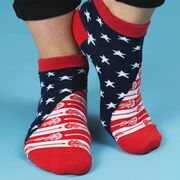 Girls Lacrosse Ankle Socks - Patriotic Lax Stars and Stripes