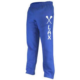 Girls Lacrosse Fleece Sweatpants - Lax with Sticks Whimsical