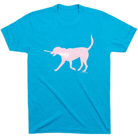 Girls Lacrosse Short Sleeve T-Shirt LuLa the Lax Dog(Pink) [Youth Small/Turquoise] - SS
