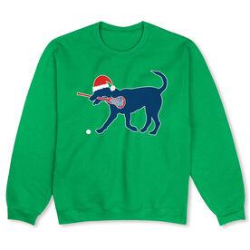 Girls Lacrosse Crew Neck Sweatshirt - Christmas Dog