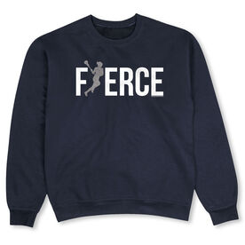 Girls Lacrosse Crew Neck Sweatshirt - Fierce (Lacrosse Girl with Silver Glitter)