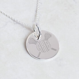 Sterling Silver 20 mm Circle Necklace Lacrosse Monogram