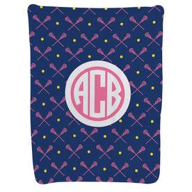 Girls Lacrosse Baby Blanket - Girls Lacrosse Pattern