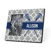 Girls Lacrosse Photo Frame - Personalized Girl Lacrosse Sticks Quatrefoil