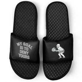 Girls Lacrosse Black Slide Sandals - My Goal Is To Deny Yours