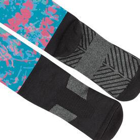 Girls Lacrosse Printed Knee-High Socks - Island Flower