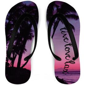 Girls Lacrosse Flip Flops Live Love Lax Beach Sunset [X-Small] - SS
