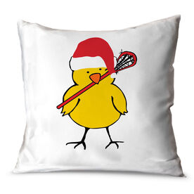 Girls Lacrosse Throw Pillow Lacrosse Chick with Santa Hat