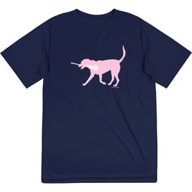 Girls Lacrosse Short Sleeve Performance Tee - LuLa the Lax Dog(Pink)
