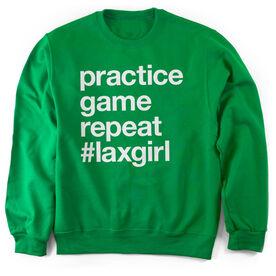 Girls Lacrosse Crew Neck Sweatshirt - Practice Game Repeat