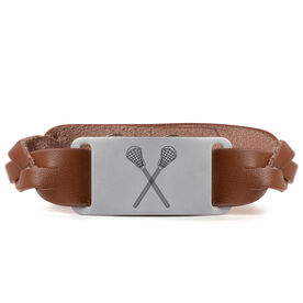 Lacrosse Leather Bracelet with Engraved Plate - Crossed Sticks