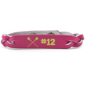 Girls Lacrosse Leather Engraved Bracelet Crossed Sticks with Number