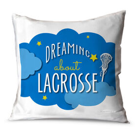 Girls Lacrosse Throw Pillow Dreaming About Lacrosse