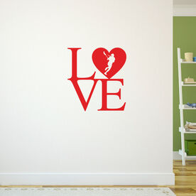 Lacrosse Removable ChalkTalkGraphix Wall Decal LOVE with Lacrosse Girl Silhouette