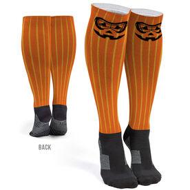 Girls Lacrosse Printed Knee-High Socks - Lacrosse Goggle Pumpkin Face